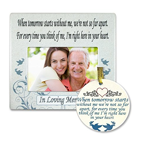 BANBERRY DESIGNS in Loving Memory Gift Pack – Memorial Frame and Christmas Ornament Set – When Tomorrow Starts Without Me – Remembrance Gift