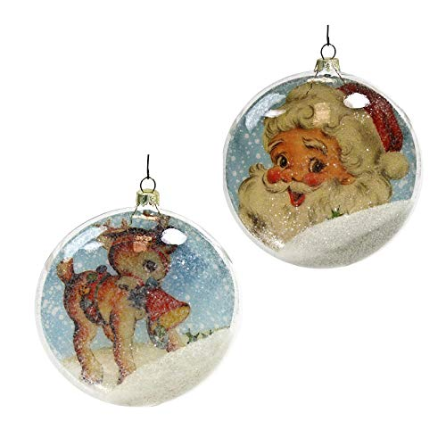Bethany Lowe Designs Set/2 Retro Glass Santa Deer Disc Ornaments Holiday Christmas Decor