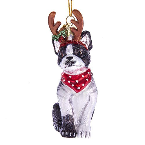 Kurt Adler Noble Gems Boston Terrier with Antlers Glass Hanging Ornament