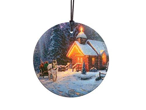 Trend Setters Thomas Kinkade Art Christmas Chapel Starfire Prints Hanging Glass
