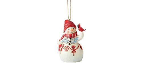 Enesco Jim Shore Heartwood Creek Mini Red & White Snowman Hanging Ornament