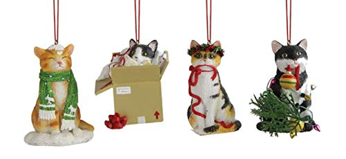 Creative Co-op Kitty Cat Mischief Hanging Christmas Ornaments – Set of 4