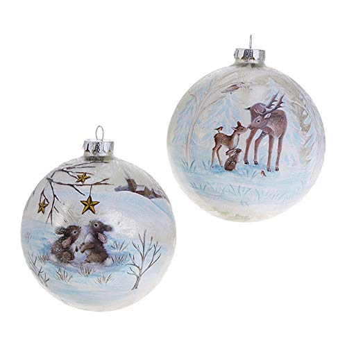 Raz Imports Bunny and Deer Friends 4.5″ Christmas Ball Ornaments Set of Two
