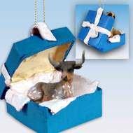 Conversation Concepts Long Horn Steer Gift Box Blue Ornament