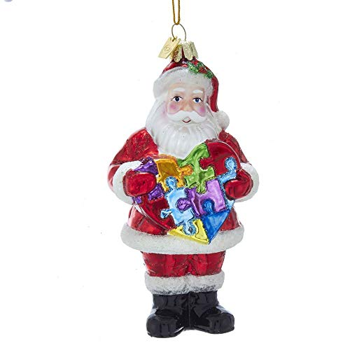 Kurt Adler Noble Gems Autism Awareness Santa Hanging Ornament, 5.25 inches Tall
