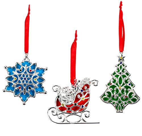 Lenox Sparkle and Scroll Holiday/Christmas Ornaments [Silver-Plated] (3 Color Gem)