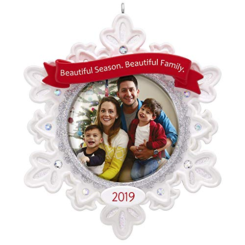 Hallmark Keepsake Christmas Ornament 2019 Year Dated Beautiful Family Snowflake Photo Frame,