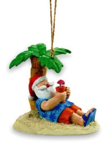 Cape Shore Santa Relaxing Under a Palm Tree Beach Break Holiday Ornament