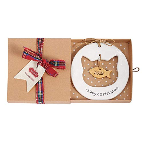 Mud Pie Cat Christmas 2019 Fish Ceramic Hanging Ornament