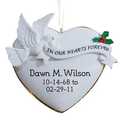 GiftsForYouNow in Our Hearts Personalized Memorial Ornament, 4″ x 3.75″