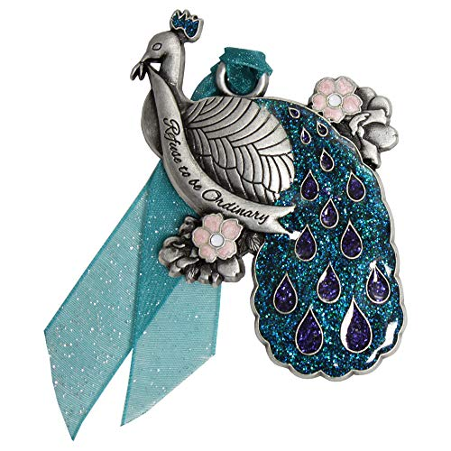 Gloria Duchin Pewter Peacock Christmas Ornament, Silver and Blue