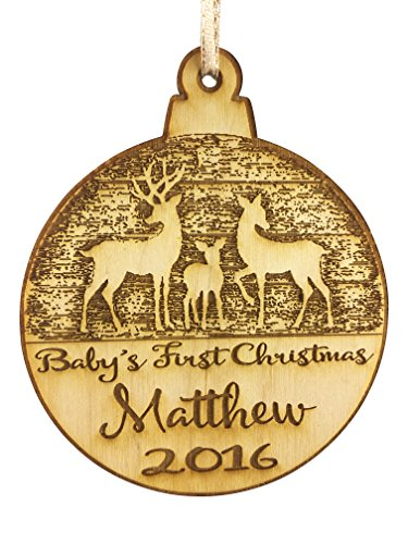 Wedding Collectibles Personalized Baby's First Christmas Ornament (2019) Boy and Girl Tree Hanging Decoration | 1st Collectible Keepsake and Heirloom | Babies, Infants, Newborns | Vintage Birchwood Cr