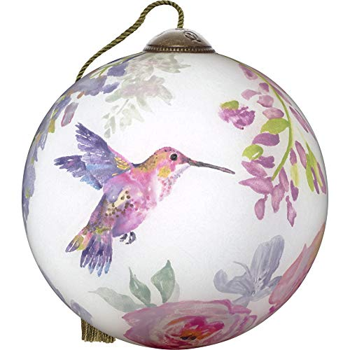 Ne'Qwa NeQwa Art Hand Painted Blown Glass Commemorative Hummingbird in Flight Ornament, Multi