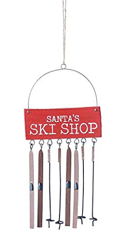 Creative Co-op Santa's Ski Shop Hanging Holiday Ornament
