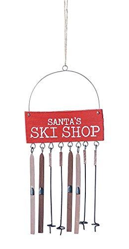 Creative Co-op Santa's Ski Shop Hanging Holiday Ornament