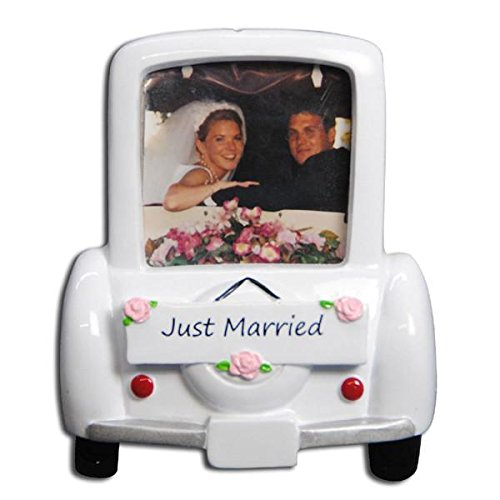 Personalized Wedding Car Picture Frame Christmas Ornament (Just Married)
