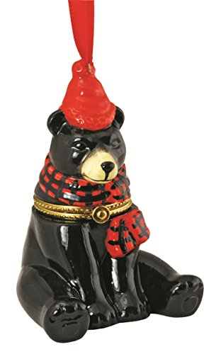 Cape Shore Black Bear with Red Hat and Scarf Hinged Box Christmas Holiday Ornament Ceramic