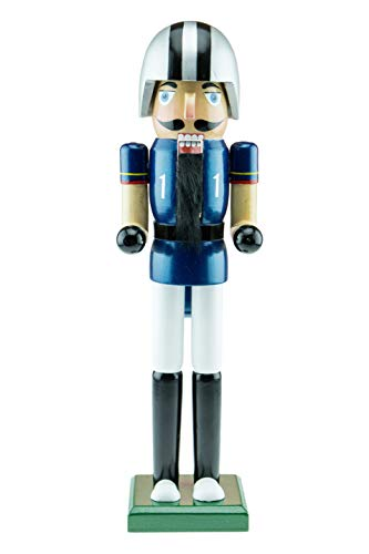 Clever Creations Football Player Nutcracker – Wearing a Blue Football Jersey – Traditional Festive Christmas Decor – 15 inch Perfect for Shelves and Tables – Solid Wood Construction