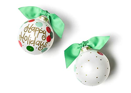 Coton Colors Layered Dot Happy Holidays Glass Ornament