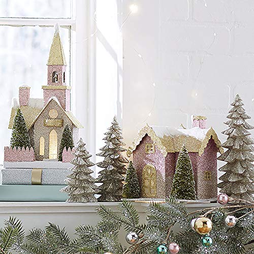 RAZ Imports SET OF 2 Raz 14.25″ LED Lighted Pink and Gold Church or House Christmas Figures 3860828