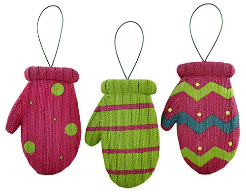 Blossom Bucket Knitted Mittens 3.25 x 2.25 Inch Resin Stone Christmas Ornament Set of 3