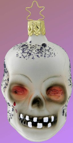 Inge Glas Halloween Skully 1-049-08 German Blown Glass Christmas Ornament