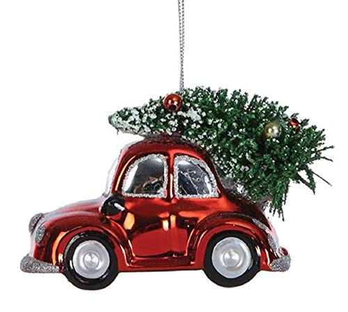 Creative Co-op Love Bug Car with Tree Hand-Painted Glass Ornament
