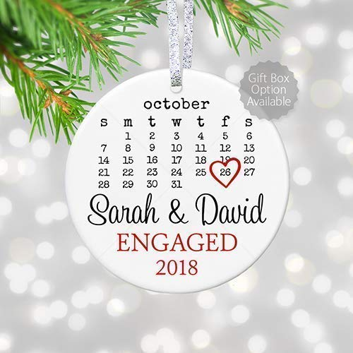 Personalized Engagement Gift with Date for Newly Engaged Couple, First Christmas Engaged Ornament 2019, Proposal Gift for Her – 3″ Flat Circle Porcelain Ornament – Gold & Silver Ribbon | PGM-OR-44a