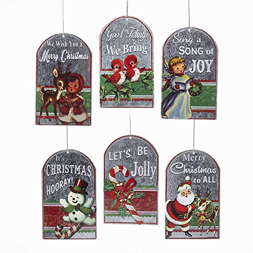 Kurt Adler 4.5-Inch Metal Retro Set of 6 Christmas Tag Ornament Set, 6 Piece