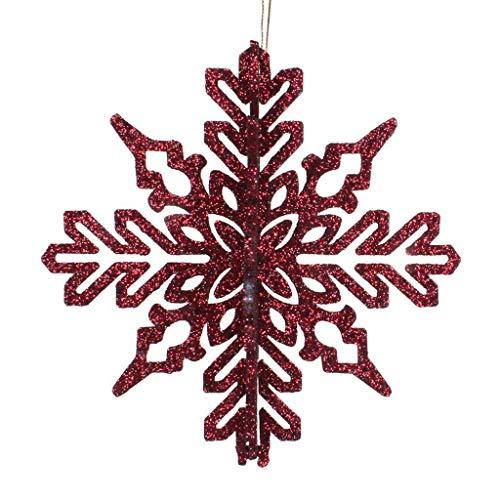 Vickerman 540985-6″ Burgundy 3D Glitter Snowflake Christmas Tree Ornament (3 pack) (M187365)