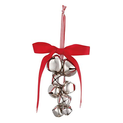 DEMDACO Jingle Bells Silvertone 4 x 6 Inch Metal Hanging Christmas Tree Ornament