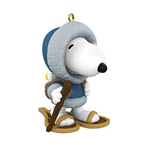 Hallmark Keepsake Mini Christmas Ornament 2019 Year Dated Peanuts Winter Fun with Snoopy Snowshoeing Miniature, 1.04″,