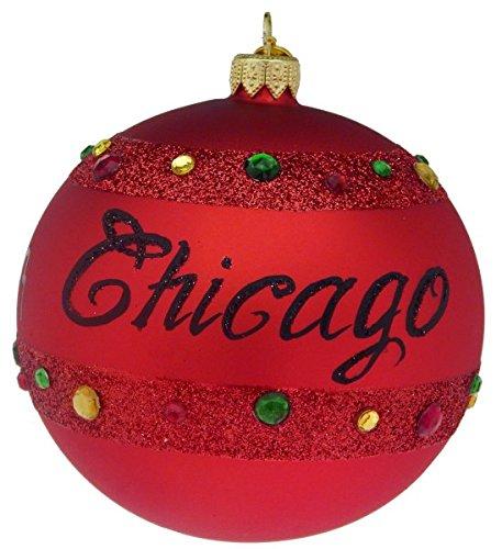 Landmark Creations Chicago City Lights Ball European Glass Blown Christmas Ornament – Red