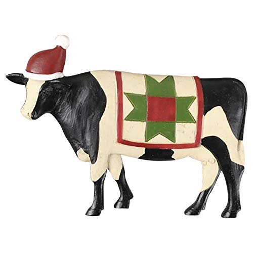 Blossom Bucket Cow with Santa Hat Ornament