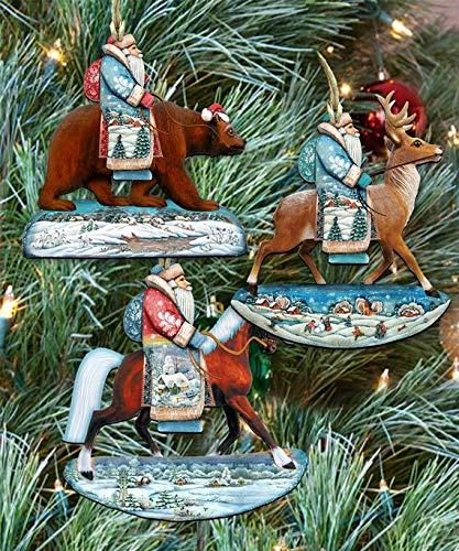G. Debrekht Christmas Ornaments – Wooden Christmas Tree Ornaments – Christmas Decorations for Holiday – Set of 3 (Riding Santa)