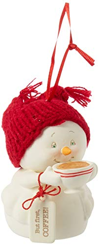 "Department 56 Snowpinions ""But First, Coffee!"" Porcelain Snowman Hanging Christmas Ornament, 3″"