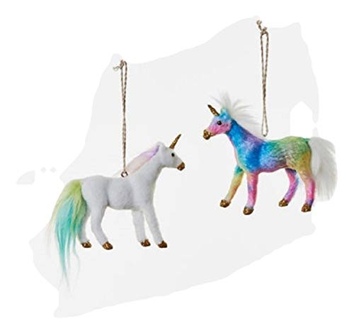 One Hundred 80 Degrees White & Rainbow Colorful Duo Unicorn Ornament Set
