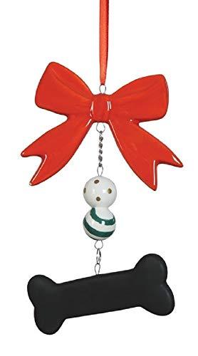 Creative Co-op Dog Bone Chalkboard Ceramic Holiday Ornament