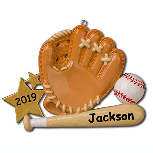 Personalized Baseball Player Glove with Baseball Bat and Baseball Gold Star Detail Hanging Christmas Ornament with Custom Name and Date (Optional)