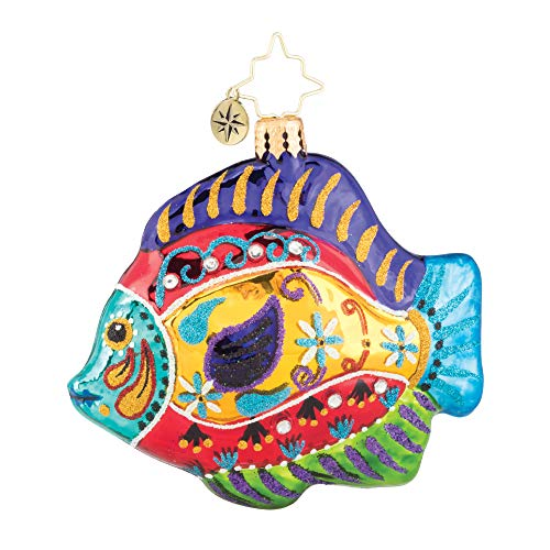 Fabulously Fishy Gem Multicolored 4 x 3 Blown Glass Christmas Figurine Ornament