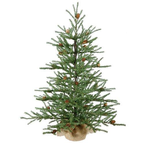 Vickerman 36″ Carmel Pine Artificial Christmas Tree with Cones and Burlap Base
