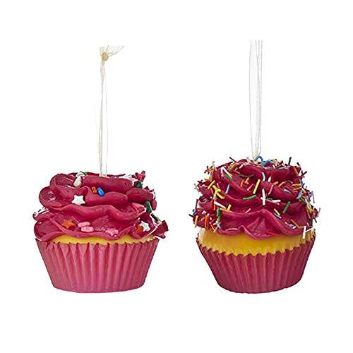 Largemouth Set/2 Kurt S Adler Rainbow Flower Cupcake Ornaments (Dark Pink)
