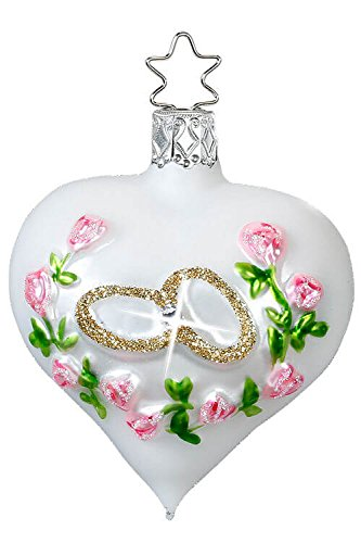 Inge-Glas Wedding Congratulations Heart 10039S017 German Blown Glass Christmas Ornament