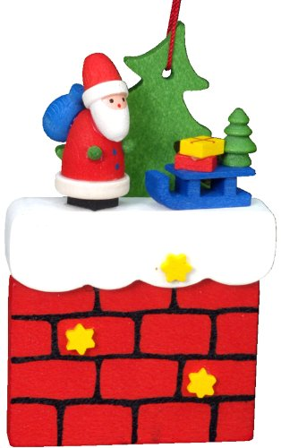 Alexander Taron Importer 10-0408 Christian Ulbricht Ornament – Santa on Chimney with Sliegh – 3″ H x 2″ W x .75″ D, Red