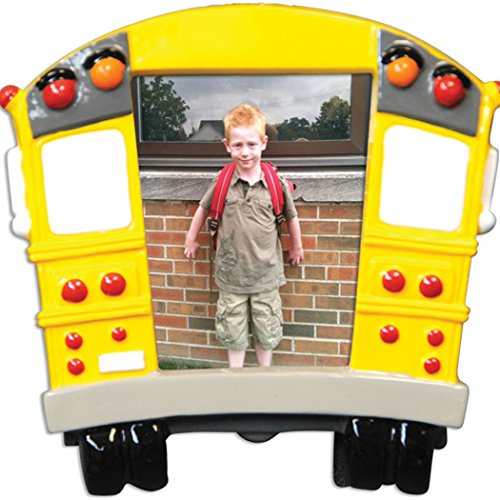 Personalized School Bus Picture Frame Christmas Tree Ornament 2019 – Milestone Memory Yellow Transit Photo Display Student Child First Day Worker Kids 1st Best Driver Gift Year – Free Customization