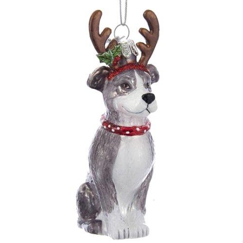 Kurt Adler Noble Gems Glass Pitbull w/ Antlers Ornament