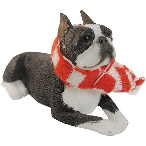 Sandicast Boston Terrier with Red and White Scarf Christmas Ornament by Sandicast