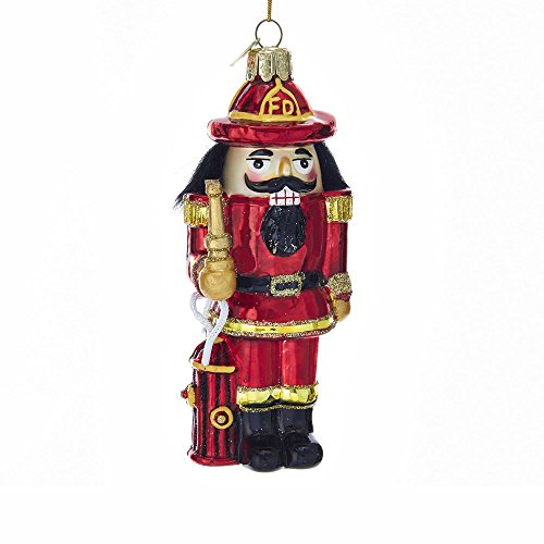 Kurt Adler Noble Gems Glass Fireman Nutcracker Ornament