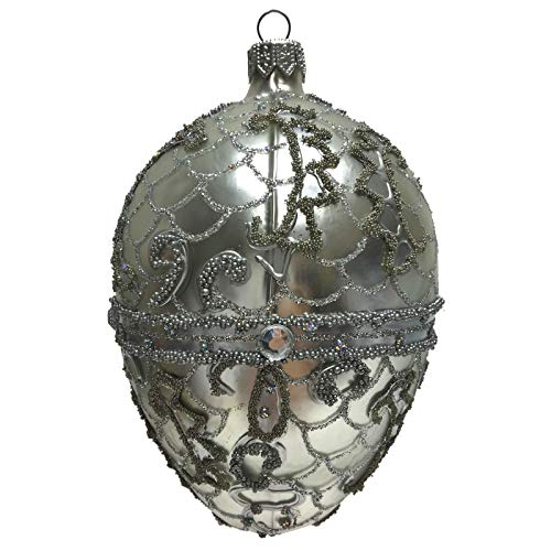 Pinnacle Peak Trading Company Silver Beaded Jeweled Faberge Inspired Egg Polish Glass Christmas Tree Ornament