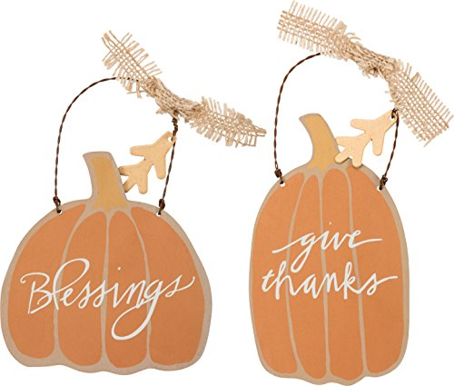 PBK Thanksgiving Decor – Give Thanks Blessings Tin Pumpkin Ornaments #31658